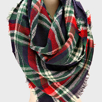 Navy Blue Plaid Poncho Fringed Scarf
