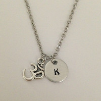 Personalized initial ohm necklace hand stamped jewelry charm necklace ohm pendant