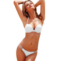 Women Bikini Set Summer Solid Hollow Out Bikini Set Sexy Push Up Elastic Two-Pieces Separate Sexy Beach Lady Swimsuit -03115