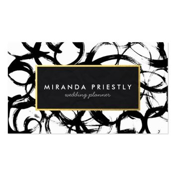 Elegant Black & Gold Brushstrokes Wedding Planner Business Card