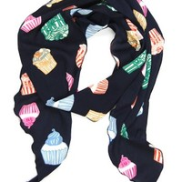 Skinny Secretary Scarf: Navy Cupcake - $8.39 : Spotted Moth, Chic and sweet clothing and accessories for women