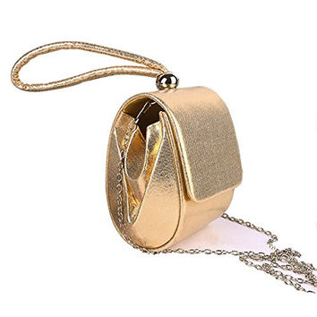 ZLMBAGUS Womens Sweet Lady Evening Clutch Bag Bridal Handbag Prom Purse Cocktail Party Clutch Color Golden