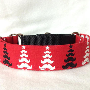 "Merry Mustache Tree Red Martingale or Quick Release Collar 5/8"" Quick Release 3/4"" 1"" Martingale Collar, 1.5"" Martingale Collar 2"""