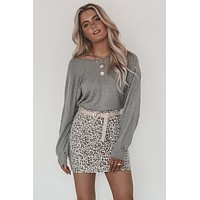 JOAH BROWN Gray Slouchy Dolman Long Sleeve Top