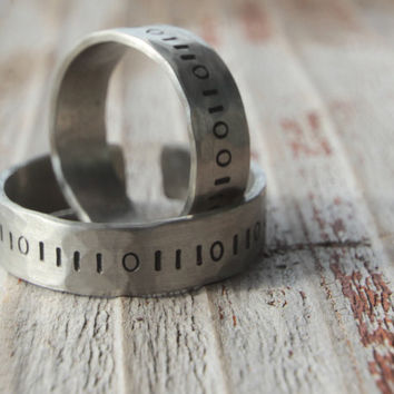 Valentine Couples Rings For Him For Her 2 LOVE in Binary Rustic German Silver Couples Rings Unique Gift for Men and Women, Techie, Different