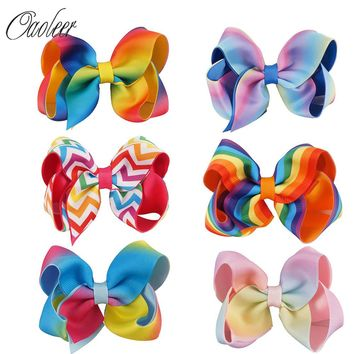 "6pcs/lot 4.5"" Rainbow Hair Bows With Clips"