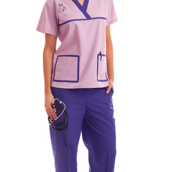 Women's Contrast Teddy Bear Embroidery Medical Scrubs