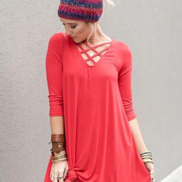Look of Thunder Criss Cross Neck Dress - Red