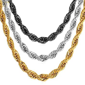 U7 Hip Hop Rope Necklace For Men Gold Color Thick Stainless Steel Hippie Rock Chain Long/Choker Hot Fashion Jewelry N574