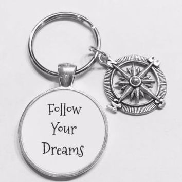 Compass Follow Your Dreams Best Friend Sister Graduation Gift Keychain