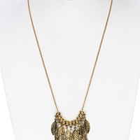 Aged Gold Multi Feather Necklace