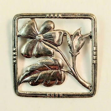 Sterling Silver Brooch Pin, Flower Lapel Pin, Vintage Square Art Deco Pin, Dogwood Pin, Floral Silver Lapel Pin, Fine Jewelry Silver Pin