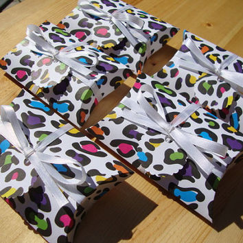Pillow Boxes - Leopard Print - Qty: 10 - Rainbow - Party Favors - Treat Boxes - Gift Boxes