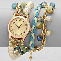 Pearl Woven Beaded Multi Chain Watch