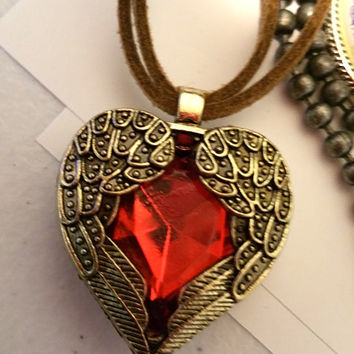 red heart locket necklace, heart pendant necklacebrown cord necklace red gem Angel wings  love jewelry