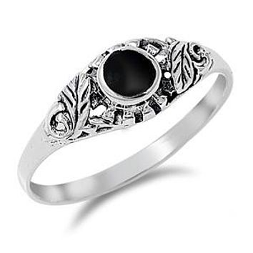 Sterling Silver and Black Onyx Womens Ring