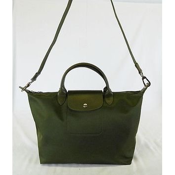 ** LONGCHAMP Le Pliage Neo Medium Canvas/Leather Olive Green Tote Bag Msrp