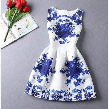 Feelingirl Women vestido Dresses Summer O-Neck Florals Print Pleated A-line Dress Feminina Casual Dress = 1696992196