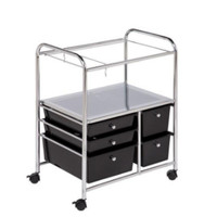 5-Drawer Hanging Rolling File Cart Home Office Furniture Black & Chrome Finish