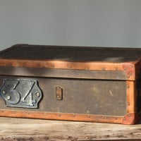 Vintage French Shabby Storage Box Number 34 Wood Shipping Crate with Leather and Copper Trim