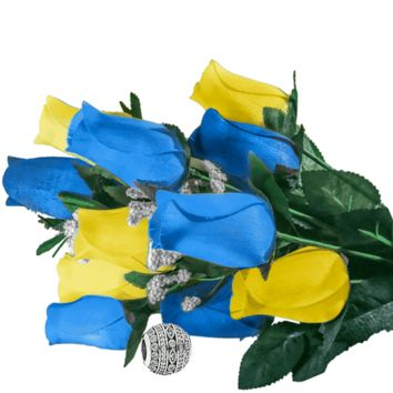 Baby Blue & Yellow Bouquet | Charm Roses®