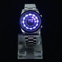 HDE Men's Blue LED Display Binary Wrist Watch with Clean Blue Stainless Steel Iron Link Band by TVG