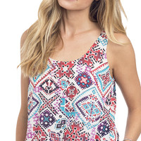 Ethnic Printed High Low Tank Top