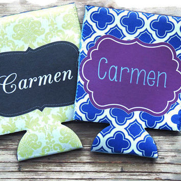 personalized koozies, bridal party koozies, beach koozies, can hugger, wedding party gift, bachelorette party favor, beer can koozie
