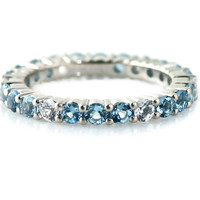 14K Aquamarine Eternity Band Anniversary Band Stackable Ring Custom March Birthstone Ring White Yellow Rose Gold