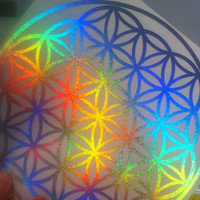 "10"" x 10"" flower of life decal HOLOGRAPHIC"