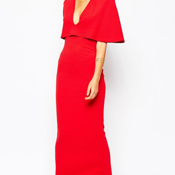 Red Cape Overlay V-neck Maxi Pencil Dress