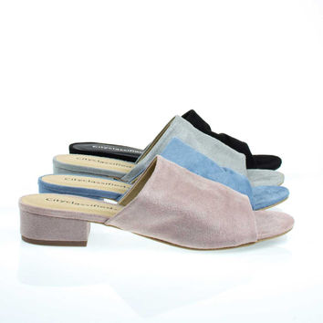Kench Pale Rose By City Classified, Low Chunky Block Heel Mule / Slipper Sandals,  Open Toe Slides