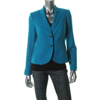 Calvin Klein Womens Petites Ponte Notch Collar Two-Button Blazer