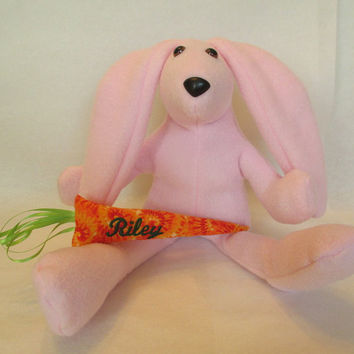 Pink Easter Bunny , Personalized Bunny , Girls Bunny Rabbit