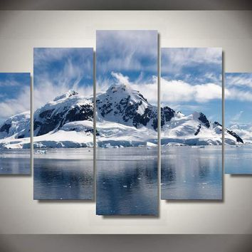 Snow Mountain Winter Scene View 5 piece wall art on canvas