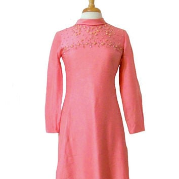 Vintage Dress 1960s Raw Silk Rose Pink Long Sleeve Rolled Neck Embellished with Rhinestones Beads & Rosettes Sylvia Ann Union Made S