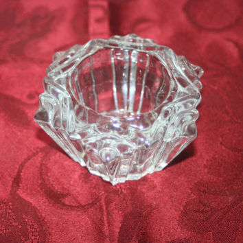 Vintage Crystal Candle Holder, Home decor, Table Decor, Crystal, Holder, Abstract Holder, Elegant Holder, Holiday Holder, Candle