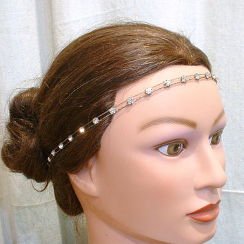 ORIGINAL Downton Abbey Headband, 1920s Hair Accessory, Art Deco Hairpiece, Great Gatsby Rhinestone Bridal Head Band, Vintage Flapper Antique