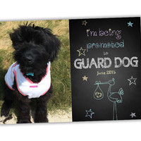 Promoted to Guard Dog Photo Pregnancy Announcement Cards - Chalk Pregnancy Announcements - Pet Reveal - Unique Pregnant Announcement - Stork
