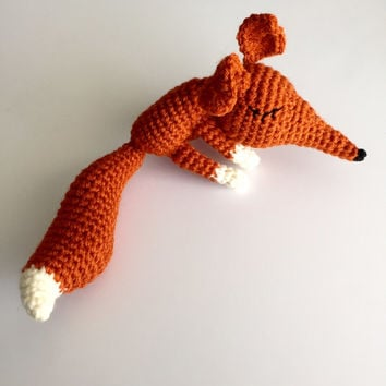 Crochet fox stuffed animal, Handmade fox toy, amigurumi animal, rustic fox decor, fox nursery decor, crochet animal sleepy fox toy, baby toy
