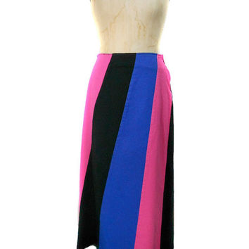 S A L E 1990s Forenza Denim Maxi Skirt / Striped Black Pink Blue / Long Jean Skirt / Goth Punk Club Kid / Womens Vintage Skirt / Size 6
