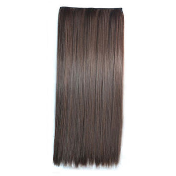 Ivisible Hair Weft Long Straight Hair Extension 5 Cards Wig dark brown