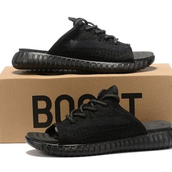 adidas Yeezy Black Reflective Sandals Slippers Sliders Summer Shoes Flip Flop - Best Deal Online