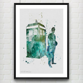 Tardis Doctor Who Poster, Watercolor Print, Children's Room Wall Art, Minimalist Home Decor, Gift, Not Framed, Buy 2 Get 1 Free! [No. 01]