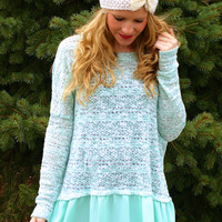 Brighten Your Life Sweater: Mint