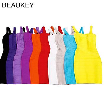 Sexy Women Rayon Spaghetti Strap Sweetheart Neckline Bodycon 2017 New Bandage Dress Black White Yellow Orange Purple Blue Red