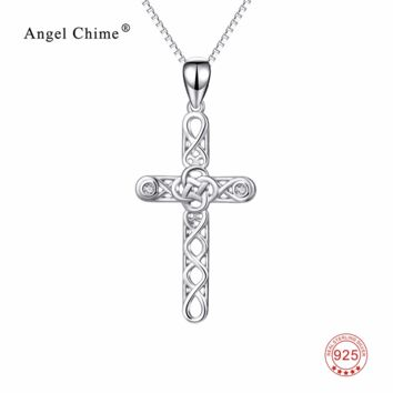 Women Fashion 925 Sterling Silver Cross Pendant Statement Necklaces Infinity Love Knot Collier Jewelry For Friends