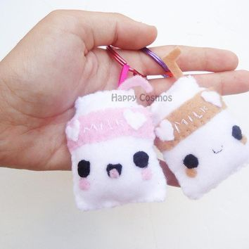 Chocolate or Strawberry Milk Keychain - Felt Food