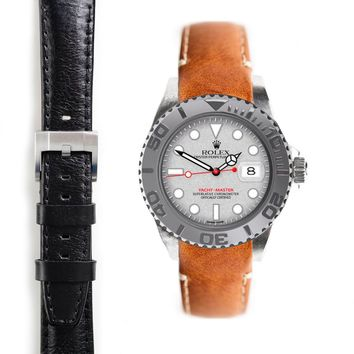Everest Curved End Leather Strap with Tang Buckle for Rolex Yacht-Master