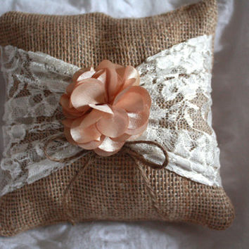 Rustic Burlap Ring Bearer Pillow with lace and gold flower